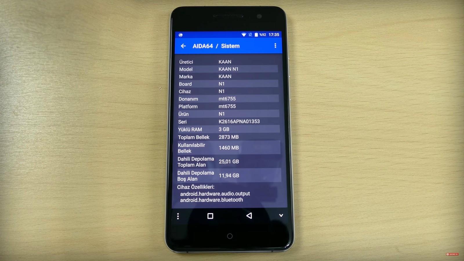 Kaan N1 - 1000 ile 1500 TL Arası Telefonlar