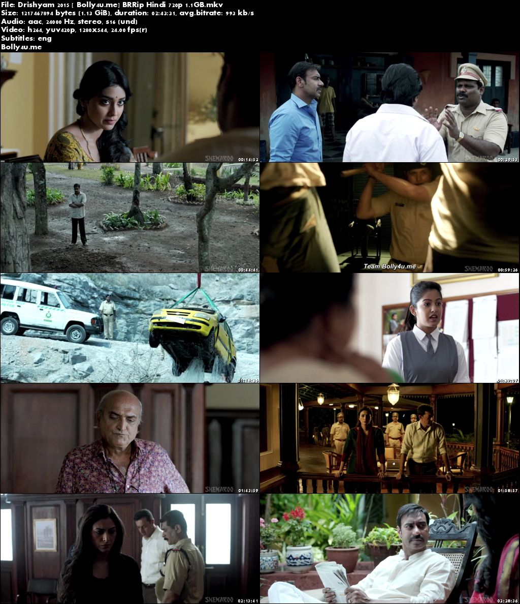 Drishyam 2015 BRRip 450MB Full Hindi Movie Download ESub 480p