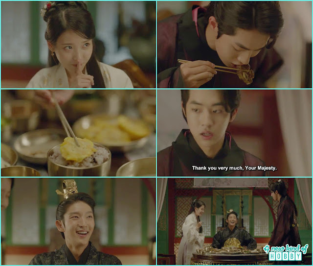 hae soo tease baek ah by putting a egg on his rice bowl he think its from king wang so he again get up and every one laugh - Moon Lovers Scarlet Heart Ryeo - Episode 17 (Eng Sub)