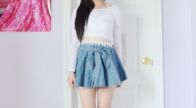A cute summer outfit featuring the white lace-trim long sleeve semi-sheer crop top from Dresslink, paired with a Taiwanese denim tie-waist skater skirt.