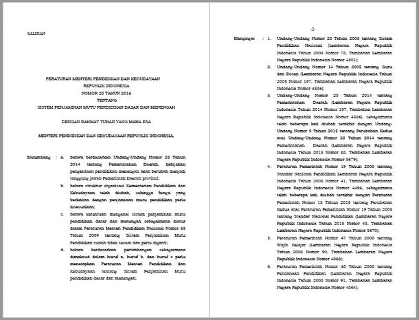 Berikut ini adalah berkas Permendikbud Nomor  Permendikbud Nomor 28 Tahun 2016 Tentang Sistem Penjaminan Mutu Pendidikan Dasar dan Menengah