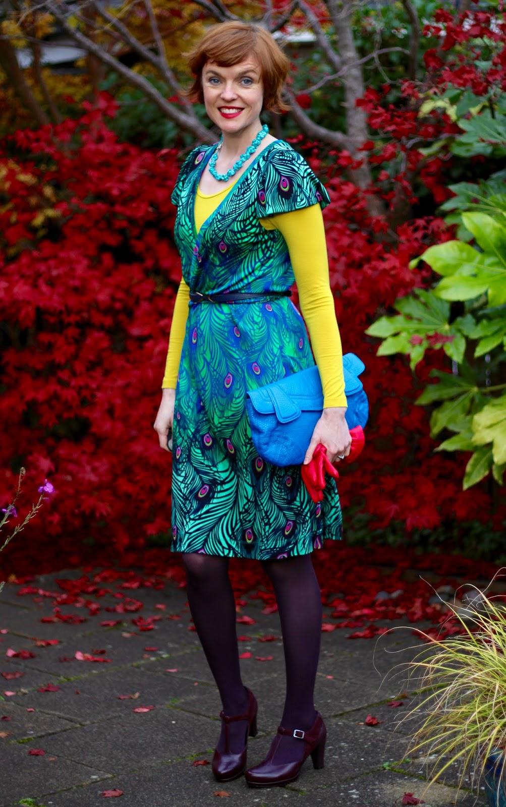 Fake Fabulous | Peacock Wrap dress & Bold Colours, over 40!