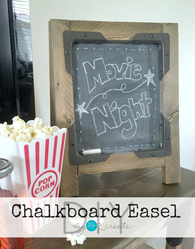 Build and awesome Industrial DIY Chalkboard Easel with Simpson Strong-Tie Connectors, tutorial at MyLove2Create