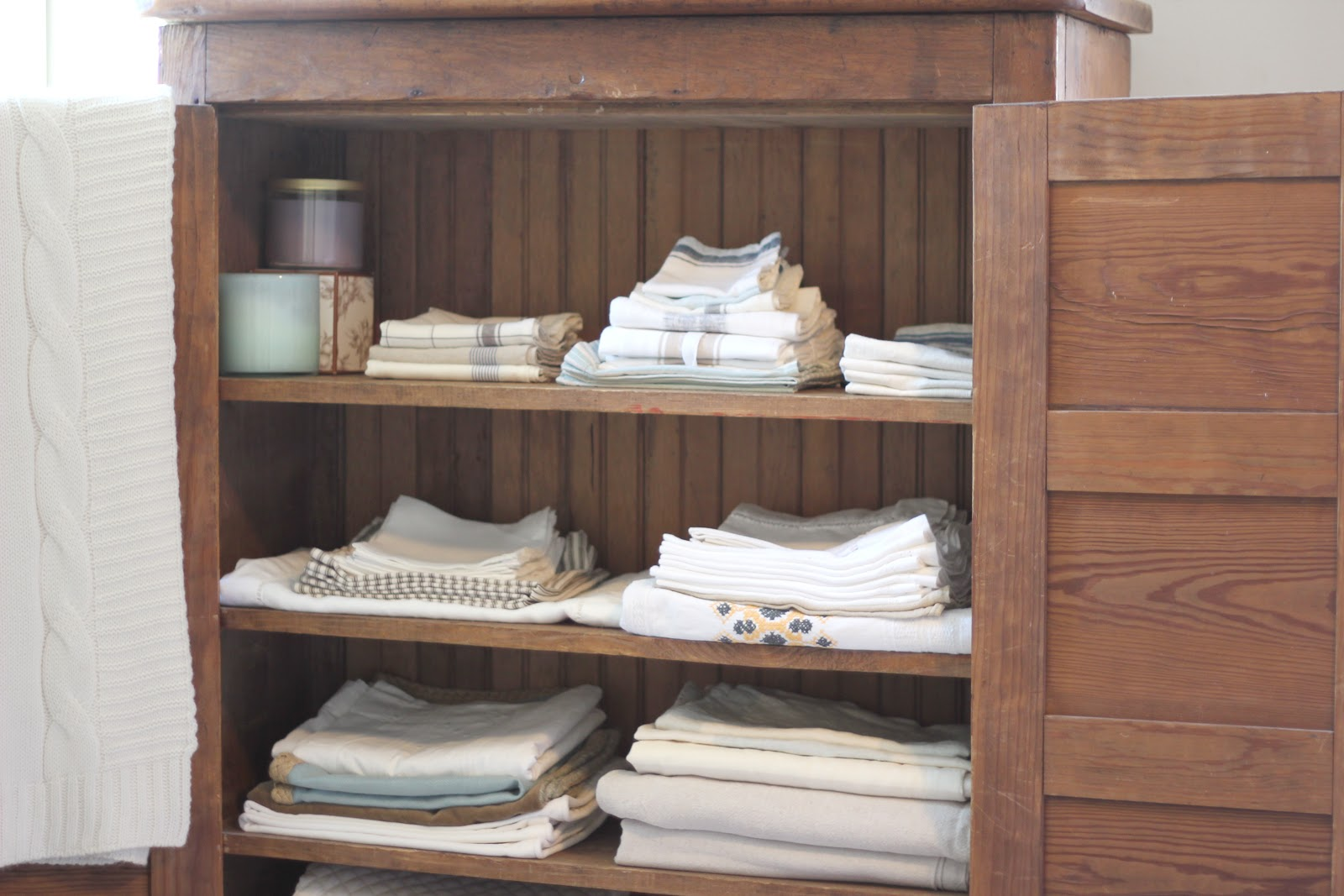 Linen closet organization - I really love this armoire: the drawers inside and out, plus the basket organization - would love to DIY a similar piece for fabric storage in the craft avupude.ml would be better then the linen closet we have.