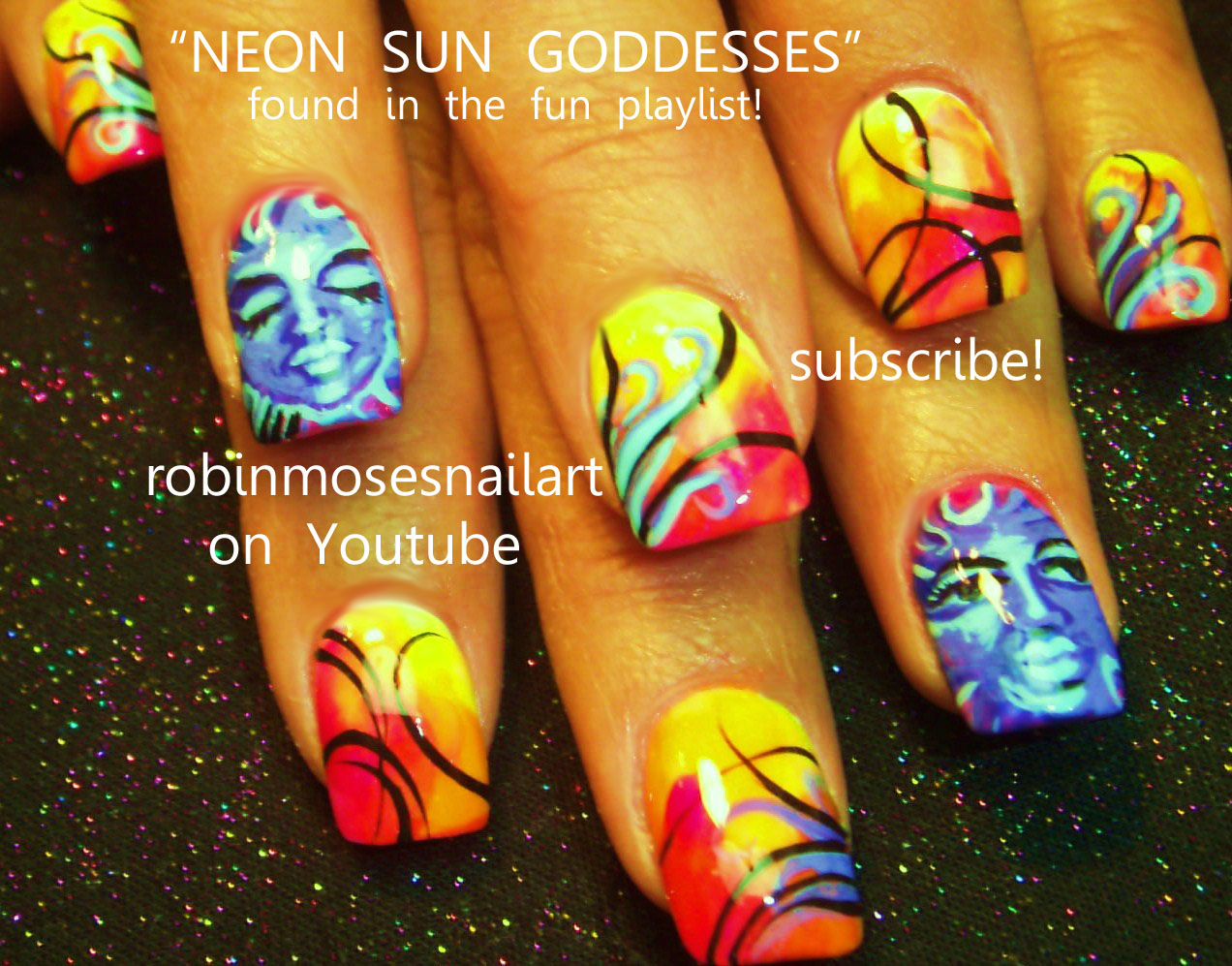 Nail Art By Robin Moses Neon Nails Flower Power Psychedelic