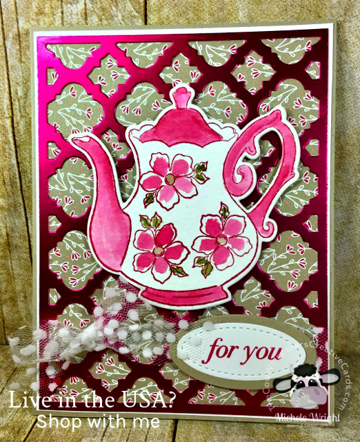 Card, Tea Togther, Florentine Thinlits, Tea Time, Lovely Lipstick Foil