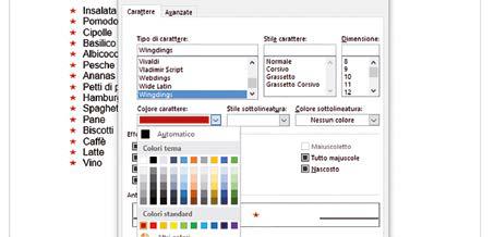 personalizzare colore elenco puntato word
