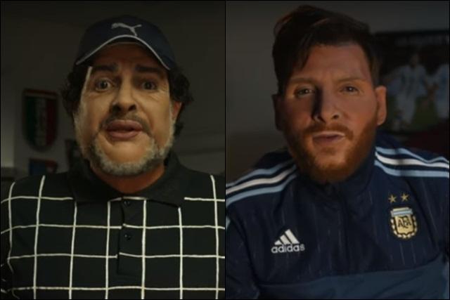 Maradona y Messi en una genial imitación de Martín Bossi en la previa de la final vs Chile