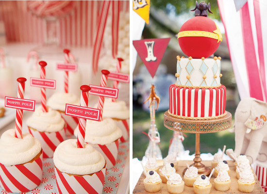 Cupcakes and wedding cake for a vintage circus wedding