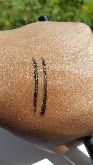 Milani Eye Tech Extreme Liquid Eye Liner vs. NYC High Definition Liquid Eyeliner swatches www.modenmakeup.com