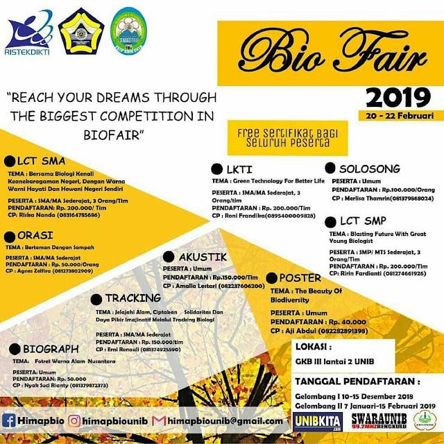 Event Biologi Fair (BioFair) 2019 SMP/SMA/Umum se-Sumbagsel
