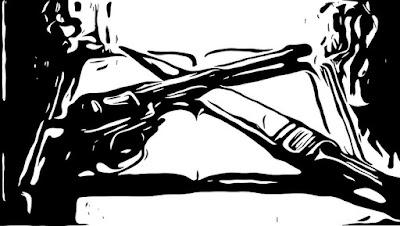 Знаме со кама, револвер и евангелие