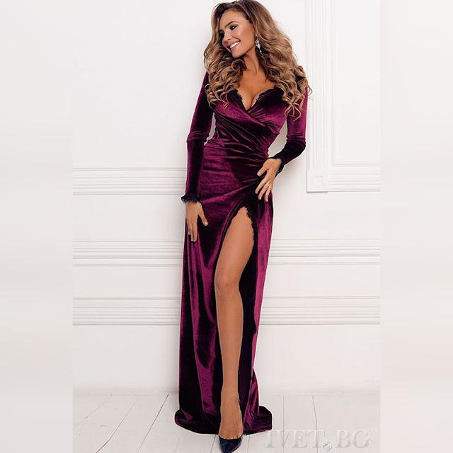 Μακρυμάνικο μάξι μπορντό φόρεμα BIANA BORDO