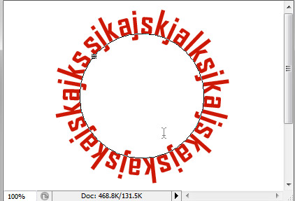how to type in circle in photoshop