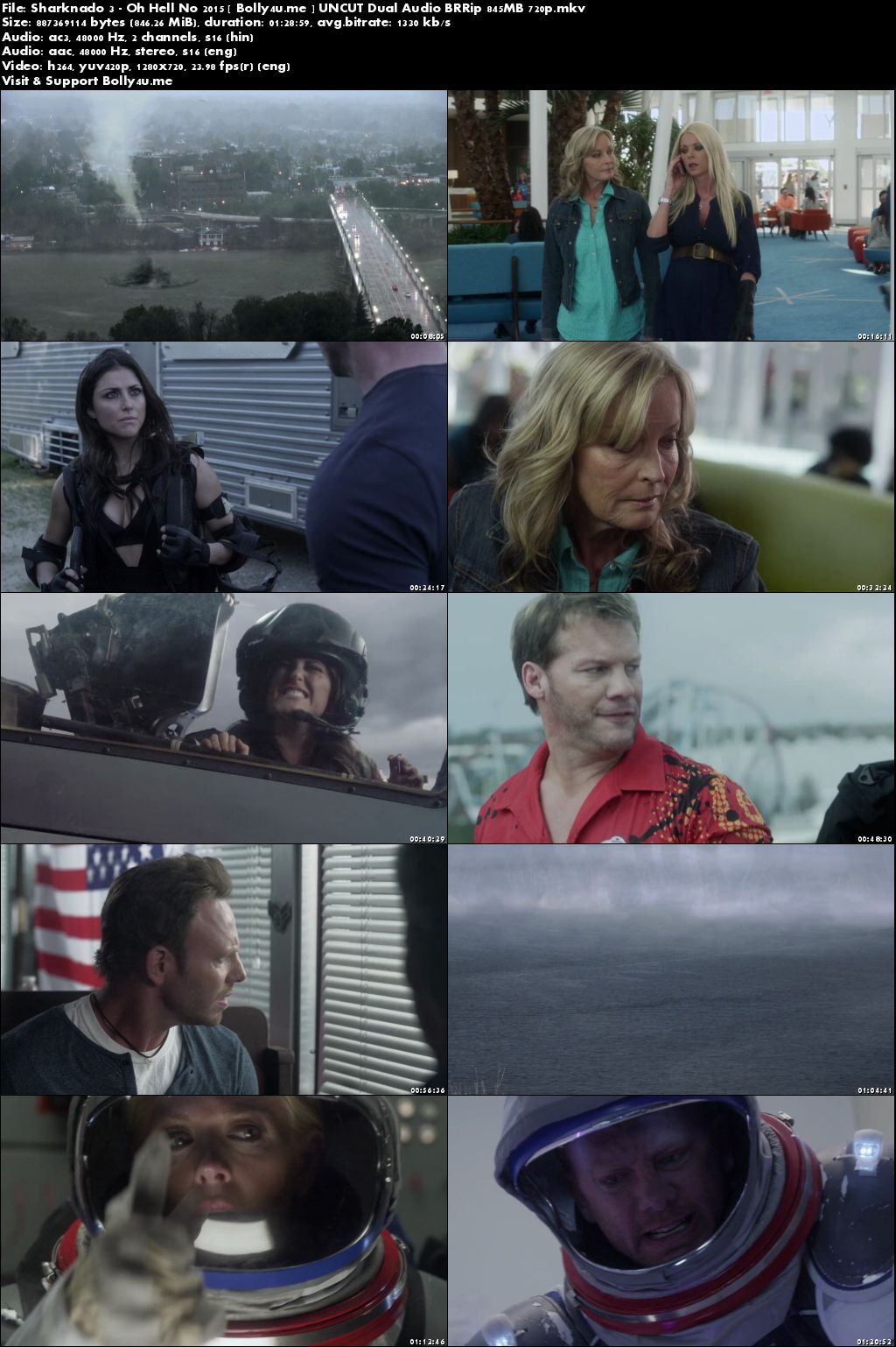 Sharknado 3 Oh Hell No 2015 BRRip 300MB UNCUT Hindi Dual Audio 480p Download