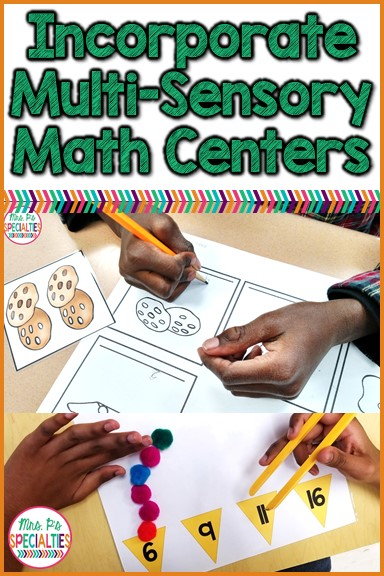 Learn how to add multi-sensory tasks into math centers with ease. Here are tips and resources that will help you create math centers for different learning styles that will engage all of your students. These ideas are ideal for special education classrooms, students with autism, hands on learners and early elementary classrooms.