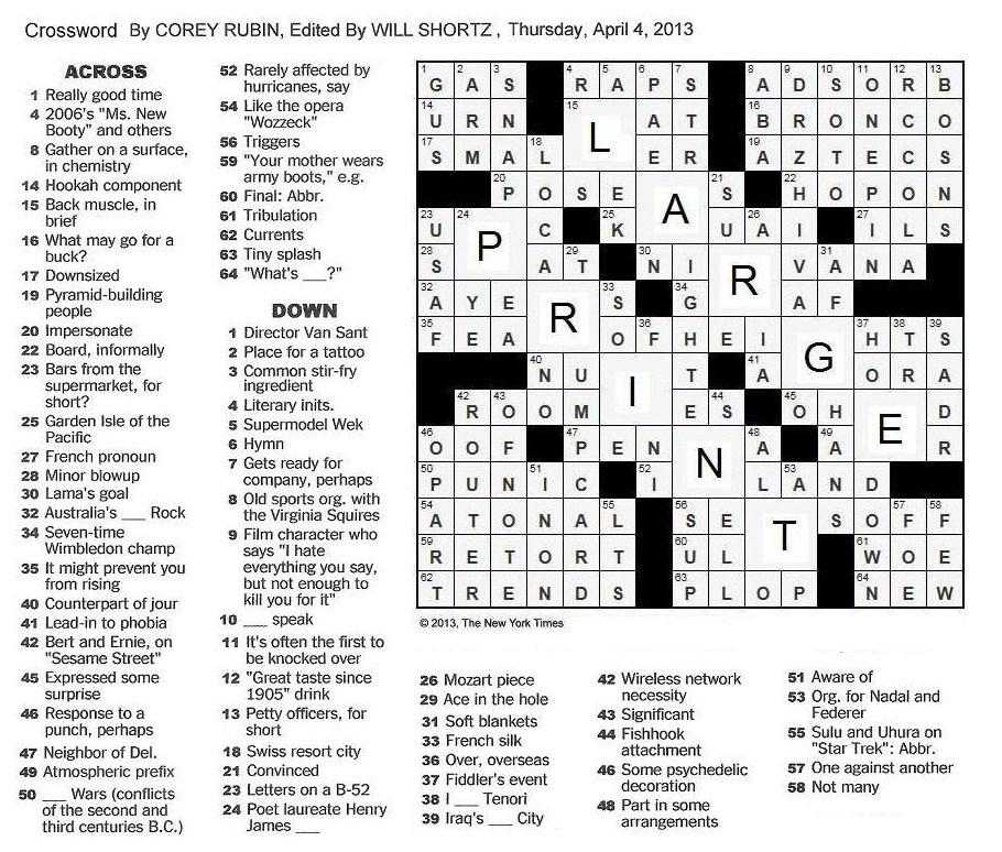 It is a photo of Inventive Printable New York Times Crossword