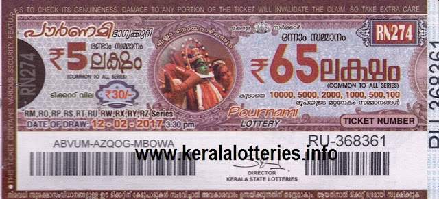 Official Kerala lottery result of Pournami RN-281 on 02 April 2017