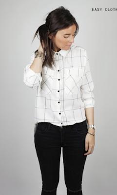 Chemise à carreaux blanche lignée Easy Clothes