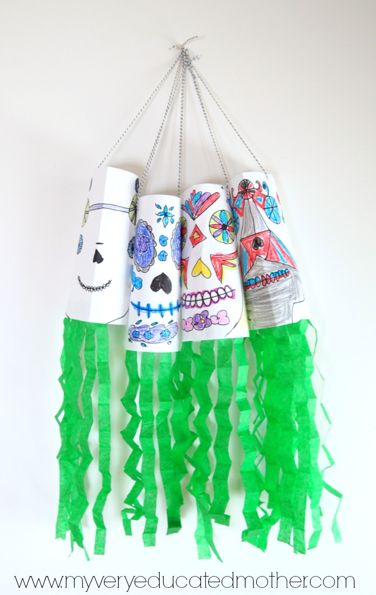 Have a spooky good time creating these Day of the Dead wind socks with the kids!