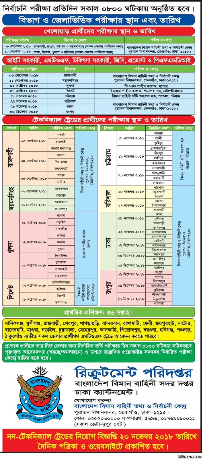 Bangladesh Air Force Airman Recruitment Exam Center, Date and Time