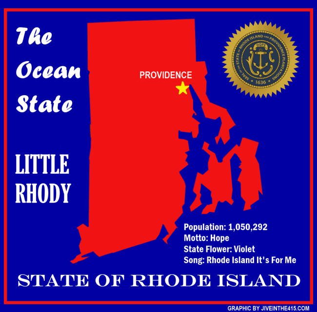 A map of the state of Rhode Island by jiveinthe415.com