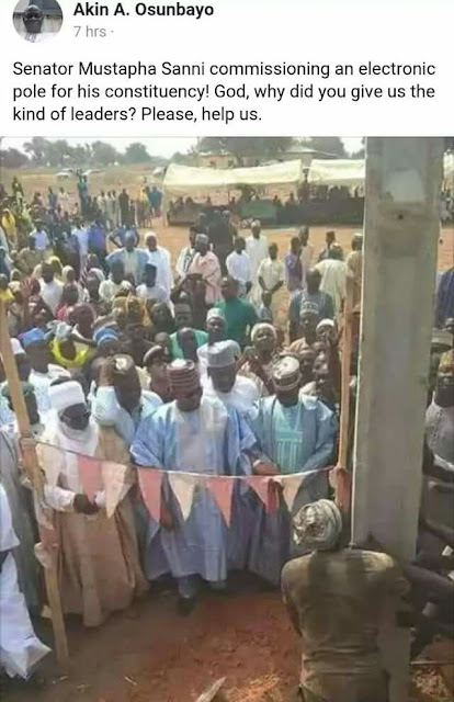 Lol. Niger State senator reportedly commissions one electric pole in his constituency..(photos)