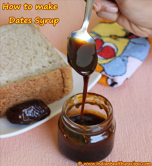 date syrup, how to make dates syrup (homemade date syrup recipe) - Swasthi's Recipes