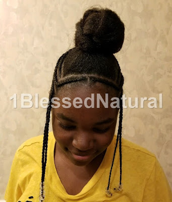 front of Fulani braids with bun mohawk