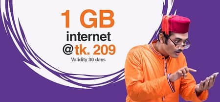 Banglalink 1 GB Internet Data Package 209 Taka for 30 Days