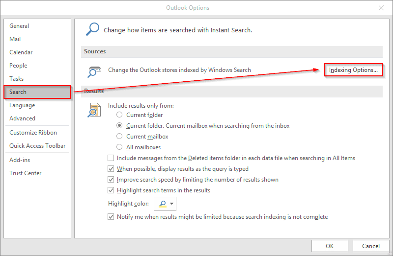 Searching into archive folder do not work, Outlook 2016