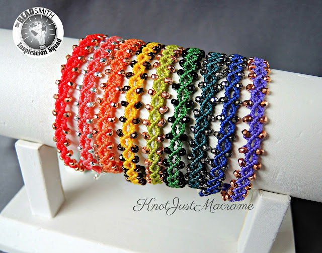 Micro Macrame bracelets in a rainbow of colors from Sherri Stokey of KnotJustMacrame.