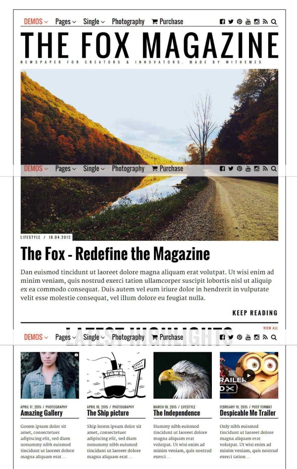 The Fox WordPress theme for news and media