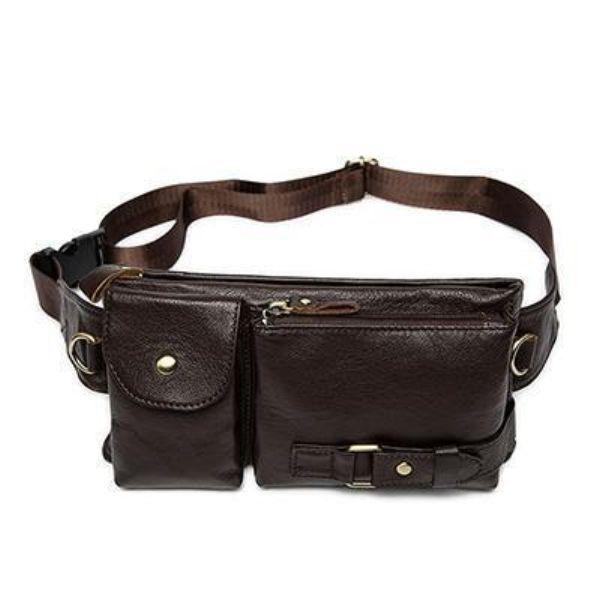 Men's Leather Waist Strap Travel Bag