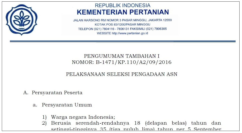 Pengumuman Tambahan Cpns Kementan Formasi Thl Tbpp Centerb