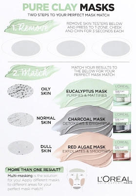 L'Oreal Pure Clay Mask Masks InstaDetox Charcoal Eucalyptus Red Algae Normal Oily Congested Skin test card