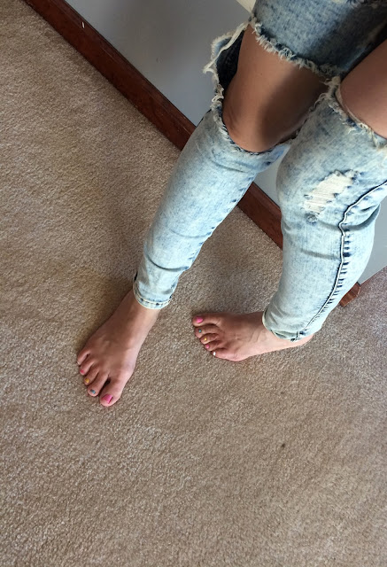 Distressed High Waist Cotton Jeans From GoJane