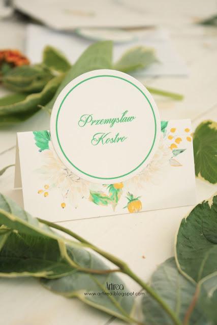 oryginalne bialo zielono zolte zaproszenia slubne i dodatki slubne winietki artirea