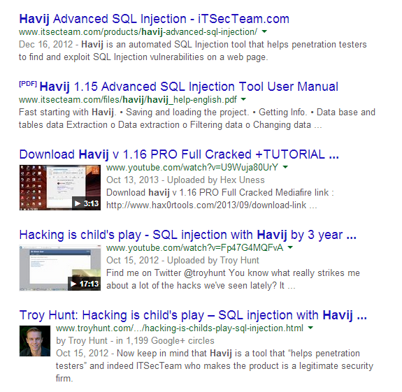 Havij SERP results from google search