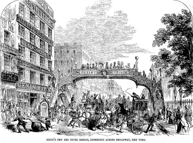 an illustration of the 1852 New York pedestrian bridge across Broadway