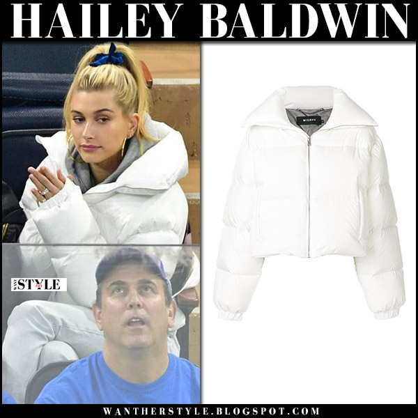 Hailey Baldwin in white puffer jacket misbhv at New York Rangers games winter fashion december 1