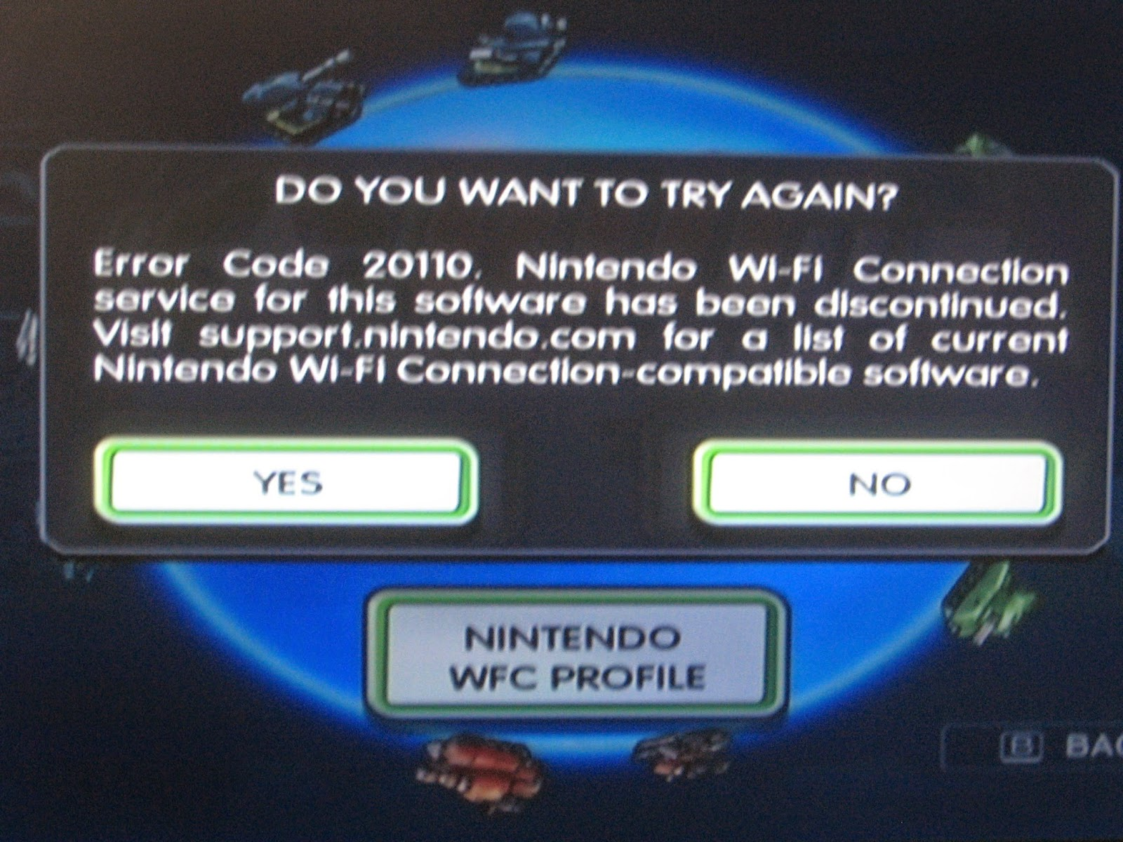 Nintendo Wi-Fi Connection Error Code 20110 Battalion Wars Wii