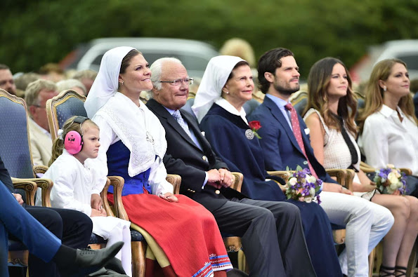 Queen Silvia, Crown Princess Victoria, Princess Sofia, Prince Carl Philip, Princess Estelle, Princess Madeleine and Christopher O'Neill attend Victoria Day Celebrations 2016. Style royal