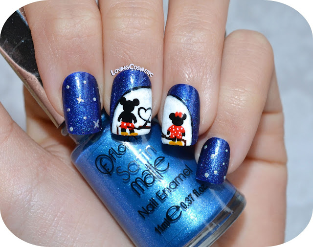 Nail art - Mickey & Minnie - Love on the moon