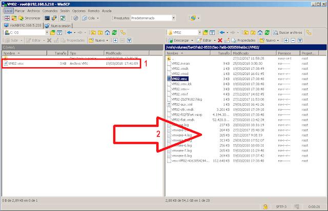 El paso siguiente será guardar los cambios que hemos realizado en el archivo, y volver a copiar el fichero a su ubicación original en el interior del almacén de datos de nuestro host. Tendremos que sustituir el archivo *.VMX  original.