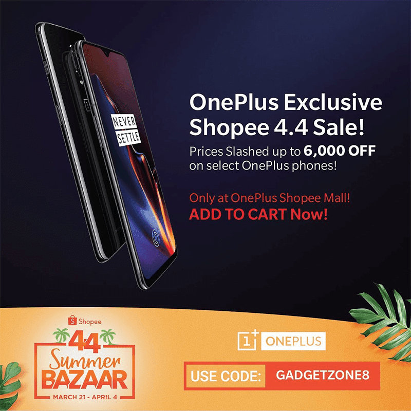 OnePlus 6T will come with up to PHP 6K price cut at Shopee's 4.4 event