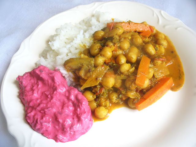 Chickpea Curry with Dill, Carrot and Beet Raita