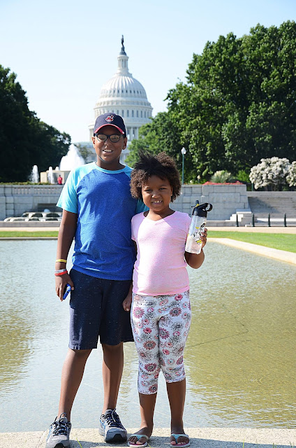 CLE to DC by Train! Kids in front of Capitol Hill