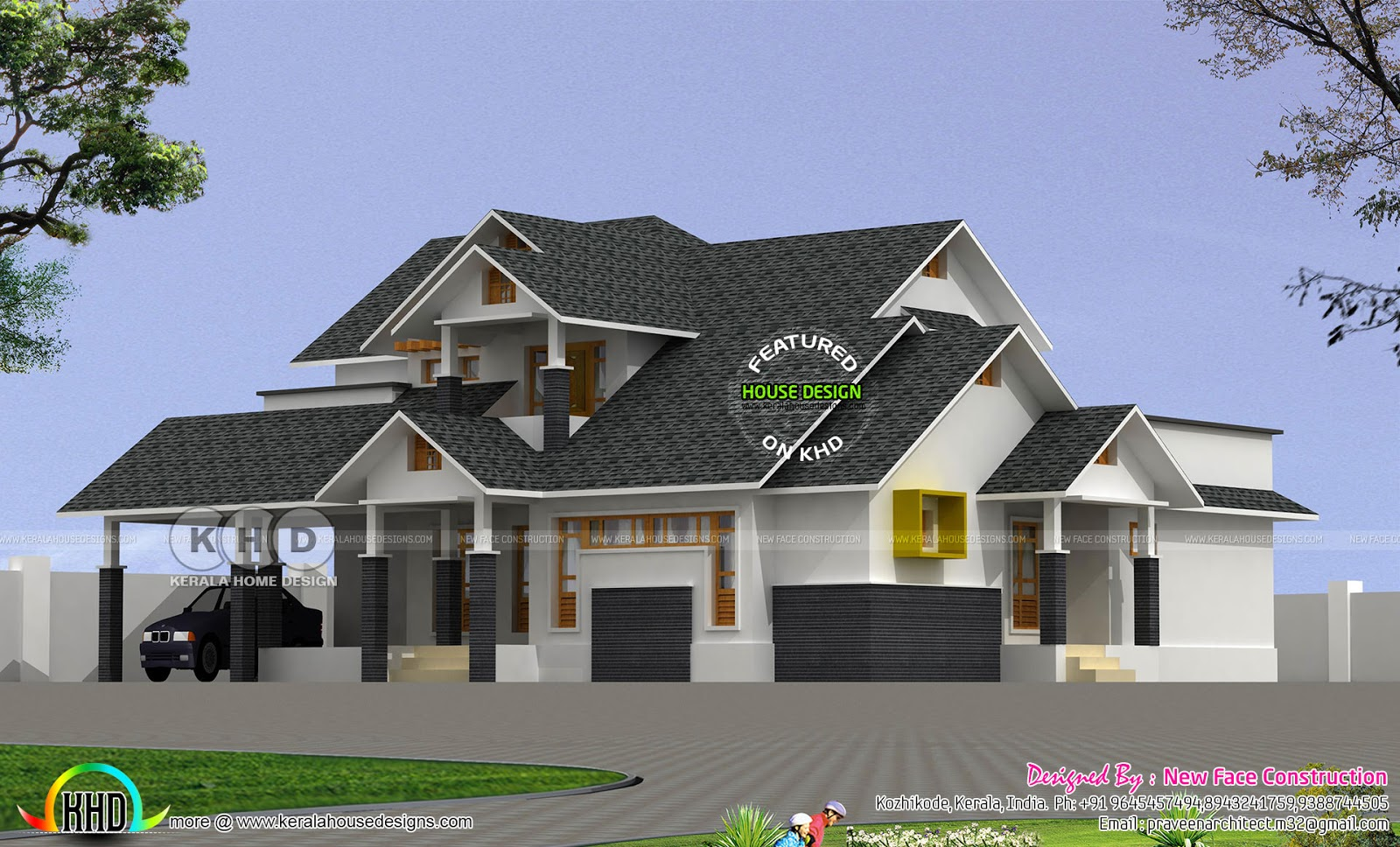 2892 Square Feet Sloping Roof House Plan Kerala Home
