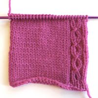 afterthought cable-ette border as seen from the knit side